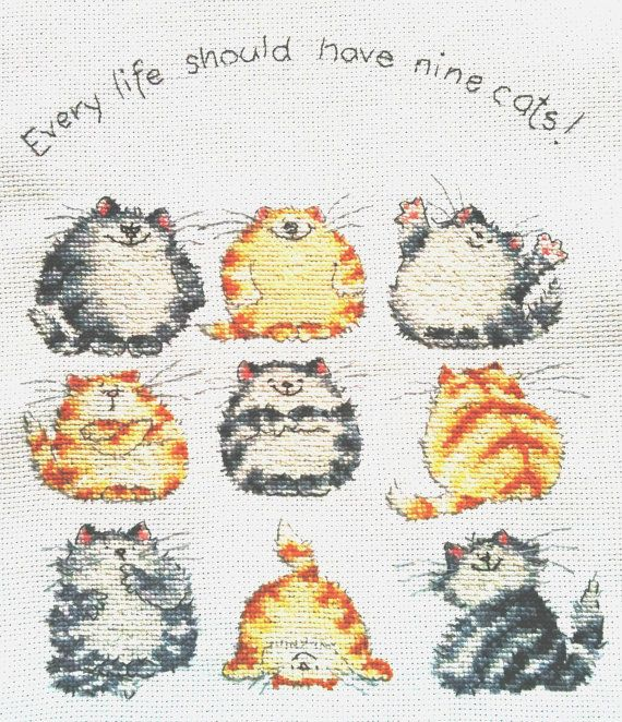 Every life should have nine cats  a cross stitch by MaryandLurline, £25.00
