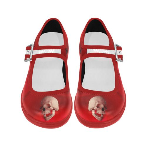Funny Skull and Rose Virgo Instep Deep Mouth Shoes