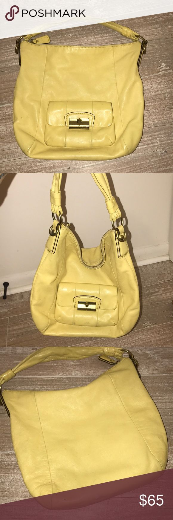 Coach Hobo Yellow Coach Hobo bag. Gently used, minor scratches/marks on the bottom of the bag. Inside of bag is clean. Bright yellow color, perfect for Spring! Coach Bags Hobos