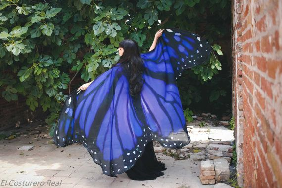 Butterfly blue wings cape Monarch cloak scarf by CostureroReal