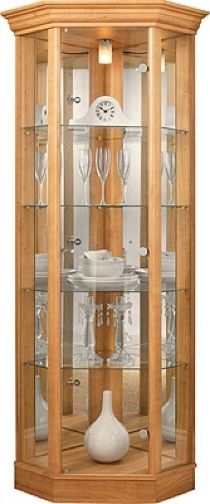 Glass Display Cabinet Corner Unit Mirrored Shelves Doors Handles Light Oak Wood