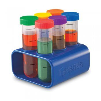 Chunky, durable test tubes perfect for hands-on learning by young experimenters. The six 100ml test tubes have different coloured screw lids and a sturdy stand.