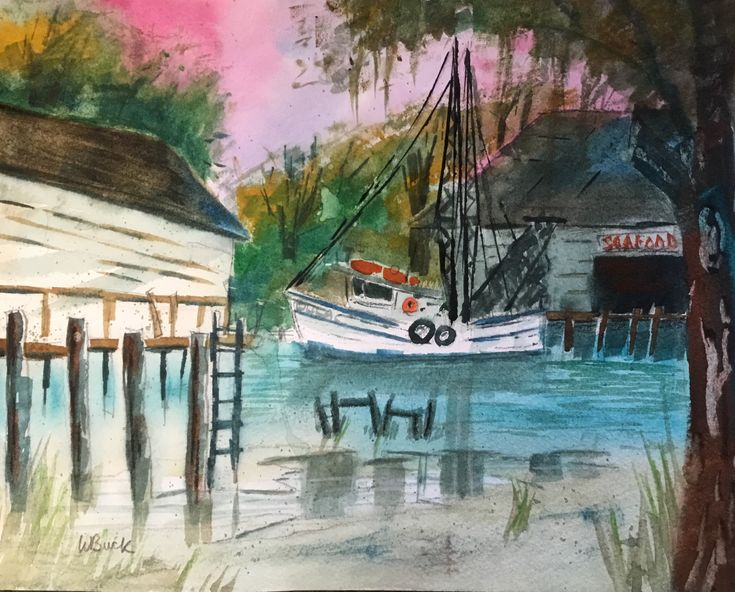 This is loosely based on a google street view image of Dulac, Louisiana.    The working shrimp boats come in here to a local seafood company to unload.    Many of the buildings in this area are up on stilts.      	Dimensions approximately 9x11 140 lb Fabriano Cold Press Paper  	Ships unframed  	Comes with certificate of authenticity.   | Shop this product here: http://spreesy.com/WBuckFineArt/25 | Shop all of our products at http://spreesy.com/WBuckFineArt    | Pinterest selling powered by…