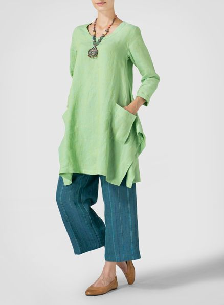 Two Tone Green Linen Long Sleeve Top