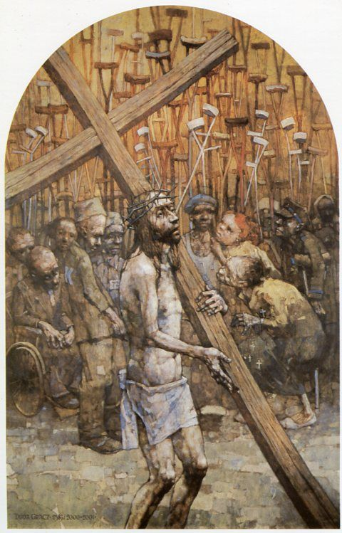 II Estación. Cristo carga con la cruz. Gólgota de Jasna Góra, del pintor polaco Jerzy Duda Gracz
