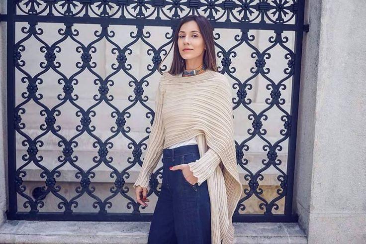 Loving every day.  Stylish @Dana Rogoz wears 2550 cardigan by Ioanna Kourbela. Find it @www.xamamclothes.com #xamamphilosophytowear #ioannaKourbela #IoannakourbelaBASICS #2550cardigan #polymporphic #favorite #chania #fashion #cardigan #streetstyle #blogger
