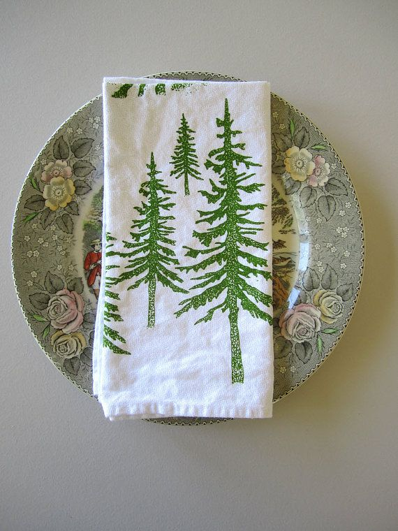 Screen Printed Organic Cotton Cloth Napkins - Eco Friendly Alpine Dinner Napkins - Woodland Forest Napkins - Set of 4 #EasyNip