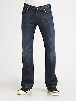 I will eat my words about designer jeans for men: 7 For All Mankind Bootcut Jeans for my man #givesaks