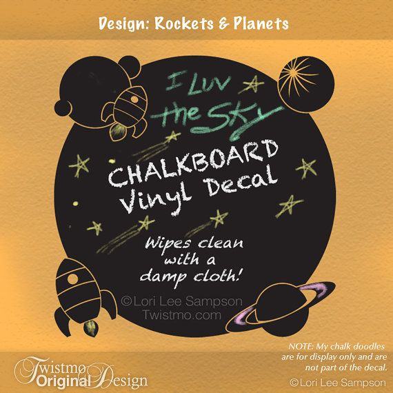 Outer Space Decor Chalkboard Wall Decal | Rocket Ships Planets Vinyl Chalk Board | Kids Bedroom Decor | Playroom Decal | Science Fiction