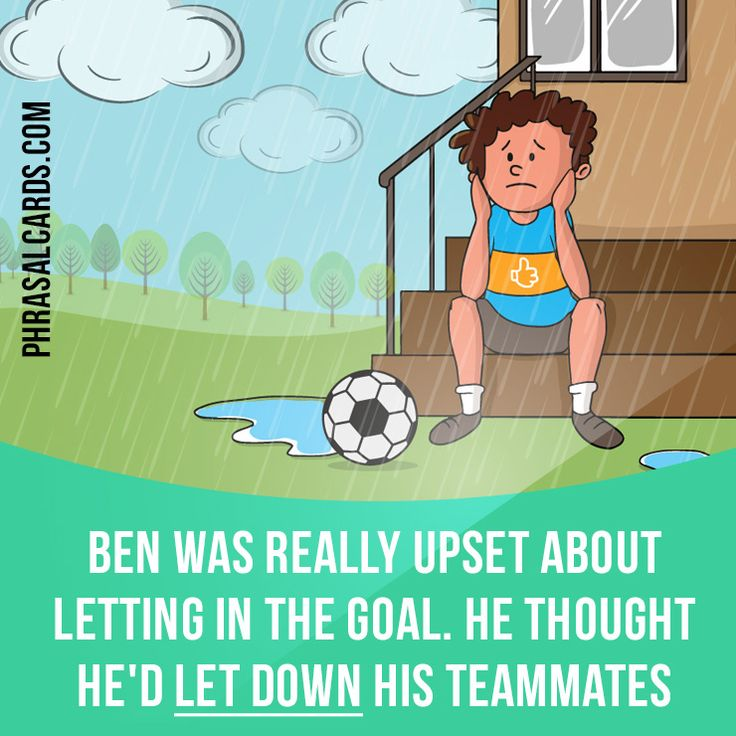 """""""Let down"""" means """"to disappoint someone by failing to do what they expect you to do"""". Example: Ben was really upset about letting in the goal. He thought he'd let down his teammates. #phrasalverb #phrasalverbs #phrasal #verb #verbs #phrase #phrases #expression #expressions #english #englishlanguage #learnenglish #studyenglish #language #vocabulary #dictionary #grammar #efl #esl #tesl #tefl #toefl #ielts #toeic #englishlearning #vocab #wordoftheday #phraseoftheday"""