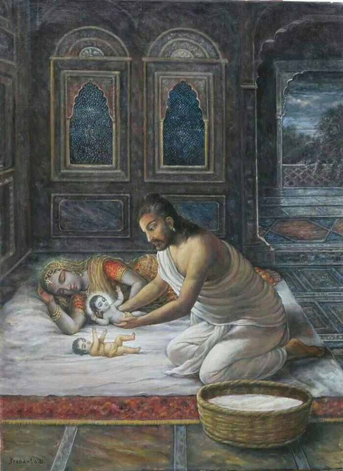 That night Krishna was born in the Rohini nakshatra and simultaneously the goddess Durga was born as Yogamaya in Gokulam to Nanda and Yashoda.  Since Vasudeva knew Krishna's life was in danger, Krishna was secretly taken out of the prison cell to be raised by his foster parents,Yasoda[59] and Nanda, in Gokula (in present day Mathura district)