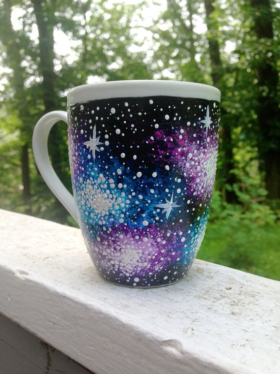 Hand painted galaxy tea pot and ceramic mug set made to