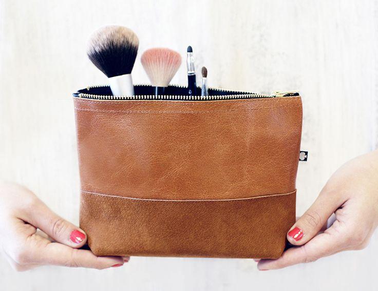 """kosmetyczka """"manoo"""" - koniak brązowy w ♠pikfine // all selfmade stuff na DaWanda.com"""