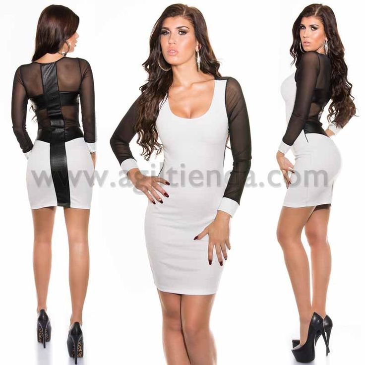 #Provocante #vestido #mangalarga, #ajustado y #elástico con @malla @transparente adornado de @polipiel en las mangas y espalda,  #ciñendose perfectamente a nuestras #curvas, resaltando la #figura con un toque #sensual, #elegante y muy #chic inspirado en las últimas #tendencias de la #moda @party de las #famosas. Disponible en 5 colores y 2 tallas. Mas información: http://www.agiltienda.com/es/2053-vestido-chic-con-transparencia.html