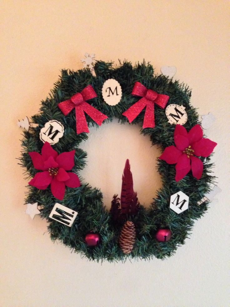 Christmas wreath i made with supplies all from michael s