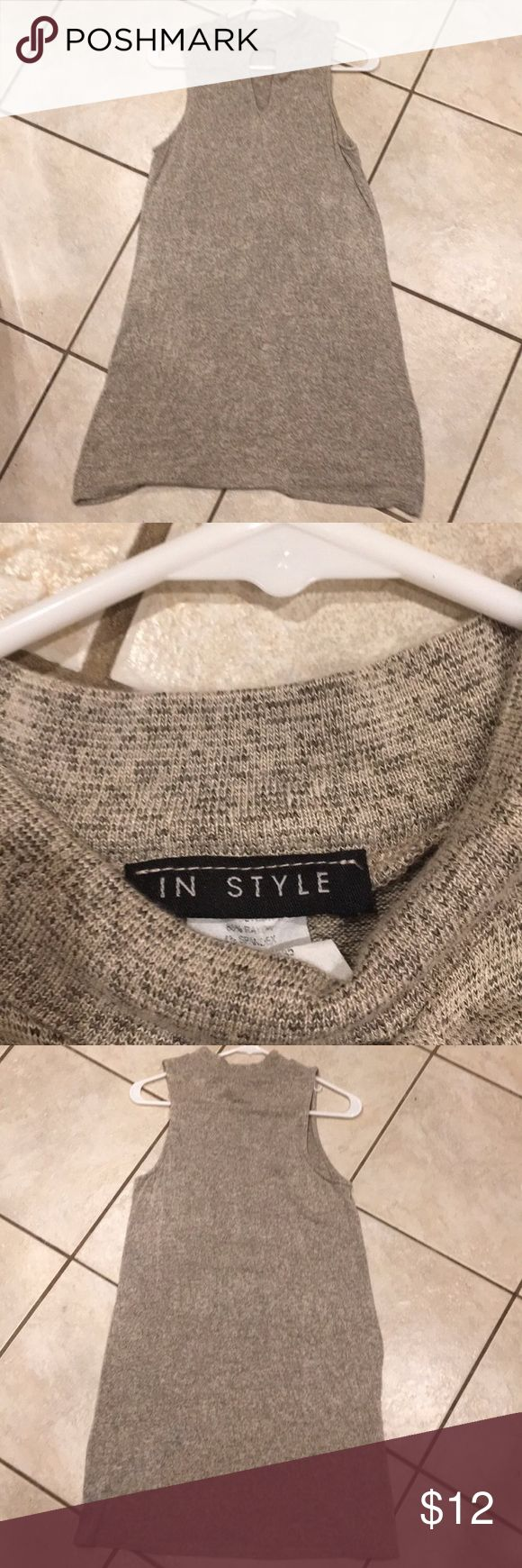 """Instyle Dress Cute InStyle dress. Size large. 34"""" from top to bottom. Has a trendy cut out in the front. This a great dress for a date or special occasion! Pretty beige color. InStyle Dresses"""