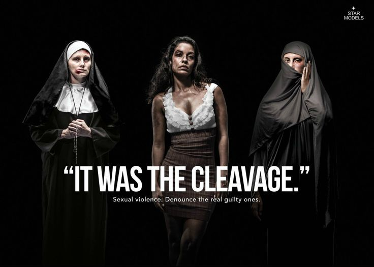 """#WomensDay #Domestic #Violence #ad """"It was the cleavage"""". Sexual violence, denounce the real guilty ones. Star Models - Revolution"""