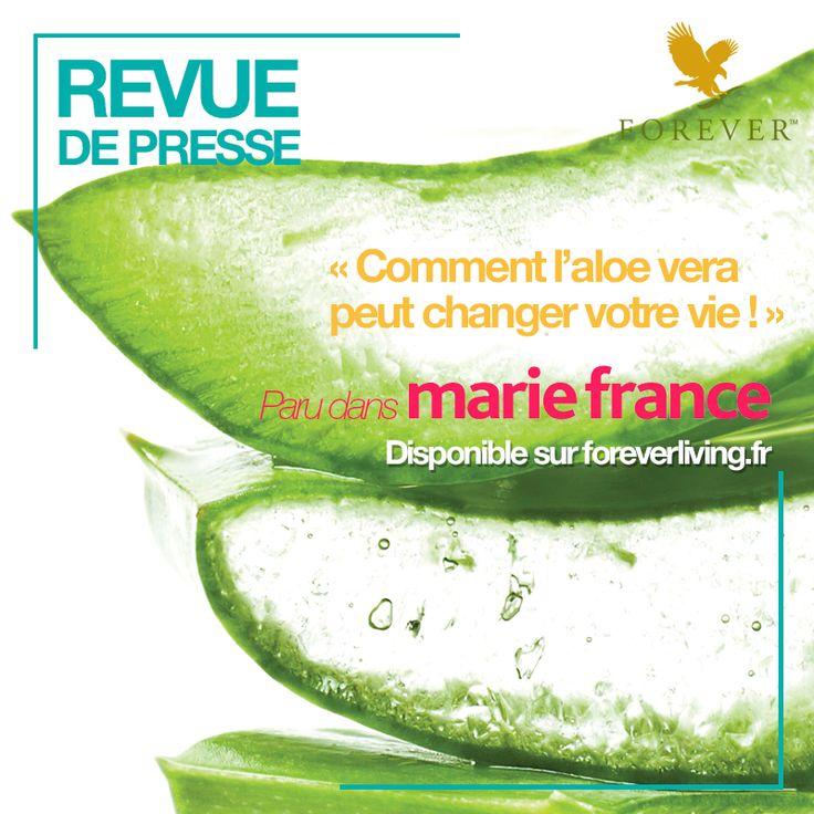 L'indémodable magazine Marie France parle des produits Forever ! Retrouvez ce très bel article et toute notre revue de presse beauté, sport et bien-être à base d'Aloe vera sur notre site www.foreverliving.fr (lien dans le pin's)