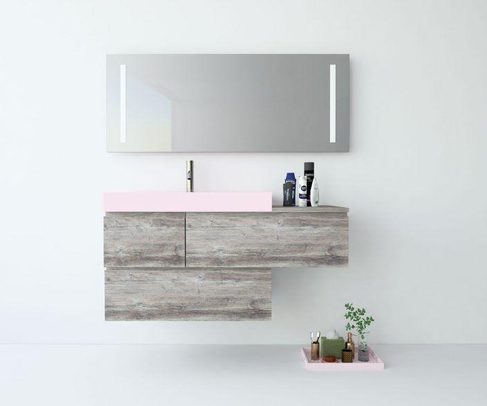 Muebles de baño a medida. Ejemplo de acabados en madera natural, laminados, lacas brillo o mate, etc.  unibaño-compactos-acabados-14
