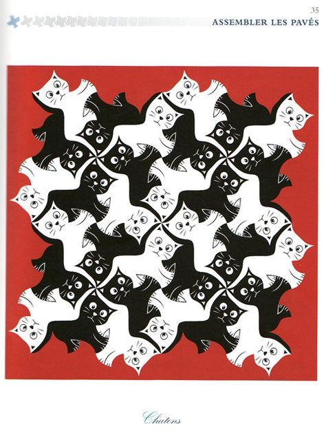 Tessellations using black and white cats