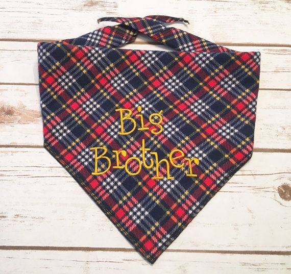 Big Brother Dog Bandana.  Baby Shower gift or Baby by CollarRap