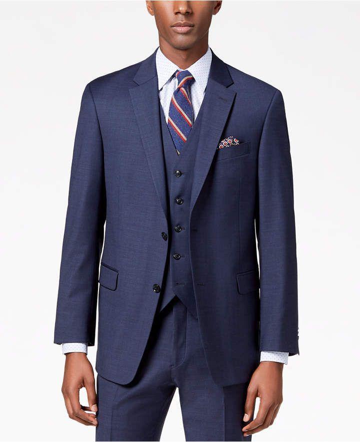 cce6d117c54 Tommy Hilfiger Men s Modern-Fit Flex Stretch Light Navy Sharkskin Suit  Jacket