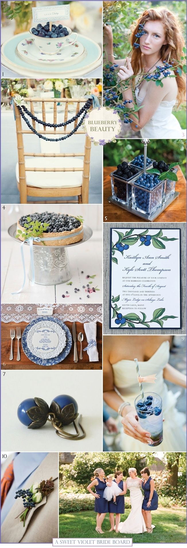 Sweet Violet Bride - Blueberry Beauty  http://sweetvioletbride.com/2013/06/wedding-inspiration-board-8-blueberry-beauty/