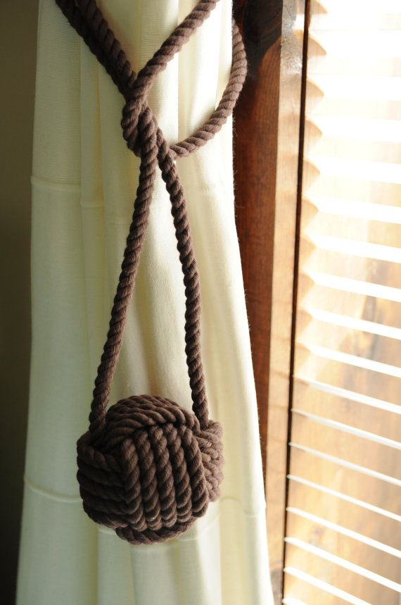 Cocoa Brown - Curtain Tiebacks - Nautical Decor - Nautical Window Treatment - (this is for a pair)