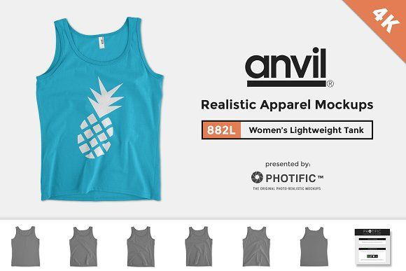 Anvil 882L Women's Lightweight Tank by Photific on @creativemarket
