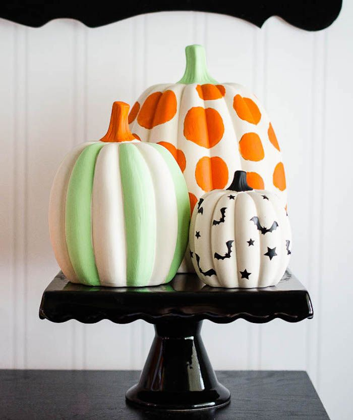Chic painted pumpkins from a Spooktacular Candy Corn Halloween Party at Kara's Party Ideas.