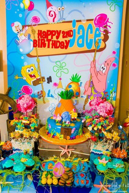 Sponge Bob Squarepants party!  See more party ideas at CatchMyParty.com!  #partyideas #boybirthday