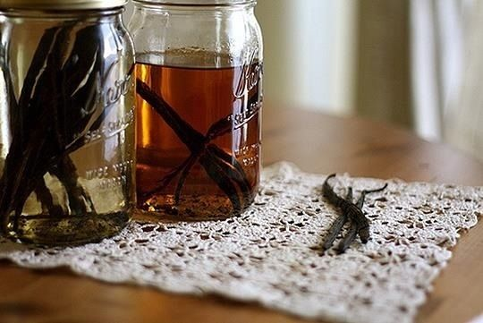 Vanilla Extract - We'll start with the one you probably use the most—vanilla extract. Split 3 vanilla beans and cover them with about half a cup of vodka, bourbon, or rum. Let steep for about two months.