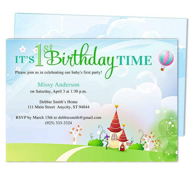 Kiddie Landscape 1st Birthday Party Invitation Templates. Easy to edit with Word, Publisher, Apple iWork Pages, OpenOfifce. Insert your own text, easy to edit.