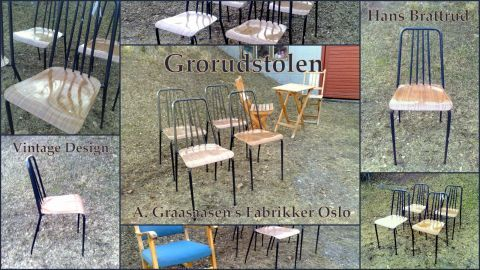 Grorudstolen 4 stk Design: Hans Brattrud Produsent: A. Grasaasen´s Fabrikker Oslo Norway