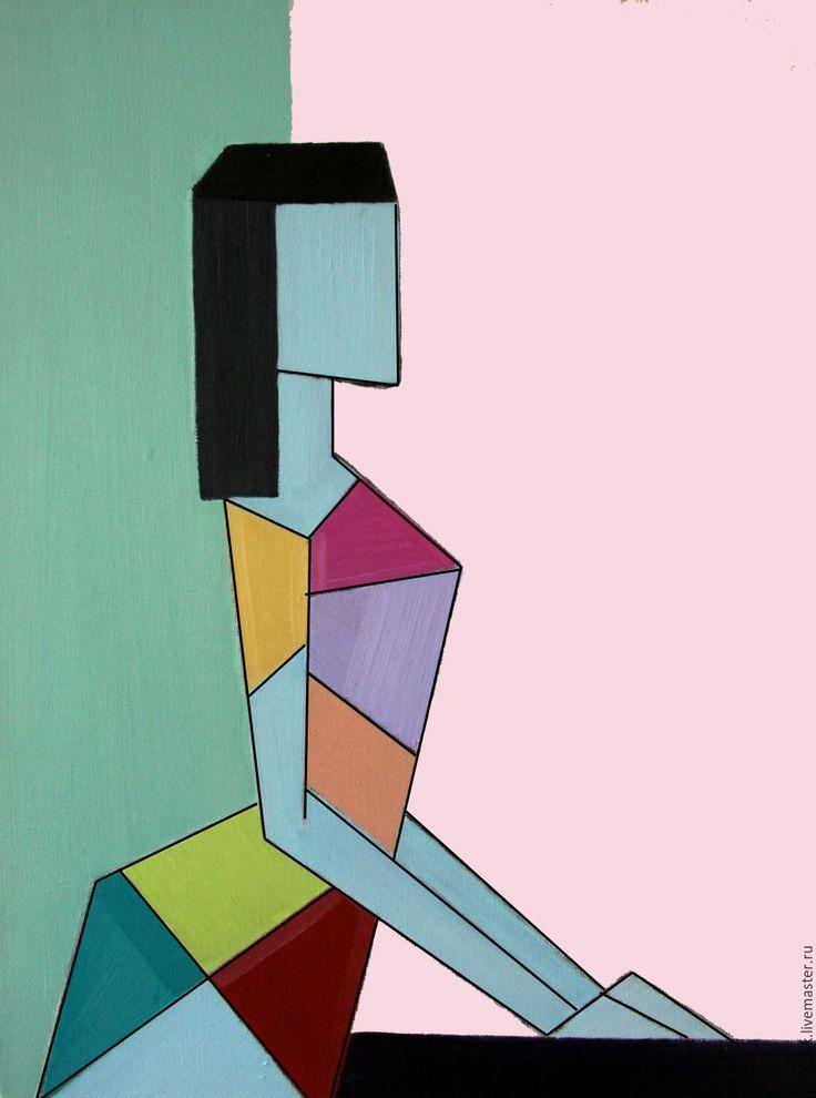 """Купить Картина маслом """"Сфинкс.Рассвет"""" - бледно-розовый, бирюзовый, голубой, Сфинкс, девушка, кошка"""