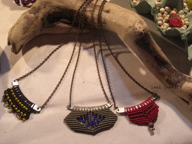 "Pendants with metal sticks and macrame ""Simplicity""."