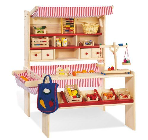 Lucy Wooden Play Shop / Market Stall / Supermarket with Awning (Red, White, Natural Birch) Pinolino