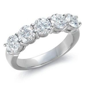 Five Round Diamonds Eternity Ring in 950 Platinum   Beautiful Five Round Diamond Half Eternity Ring in claw setting, Perfect for the Anniversary Gift Ideas.