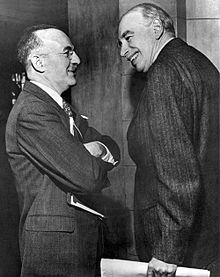WhiteandKeynes-The United States Treasury Department was successfully penetrated by nearly a dozen Soviet agents or information sources, including Harold Glasser and his superior, Harry Dexter White, assistant secretary of the treasury and the second most influential official in the department.[1][2] In Late May 1941 Vitaly Pavlov, a 25-year-old NKVD officer, approached White and attempted to secure his assistance to influence U.S. policy towards Japan.