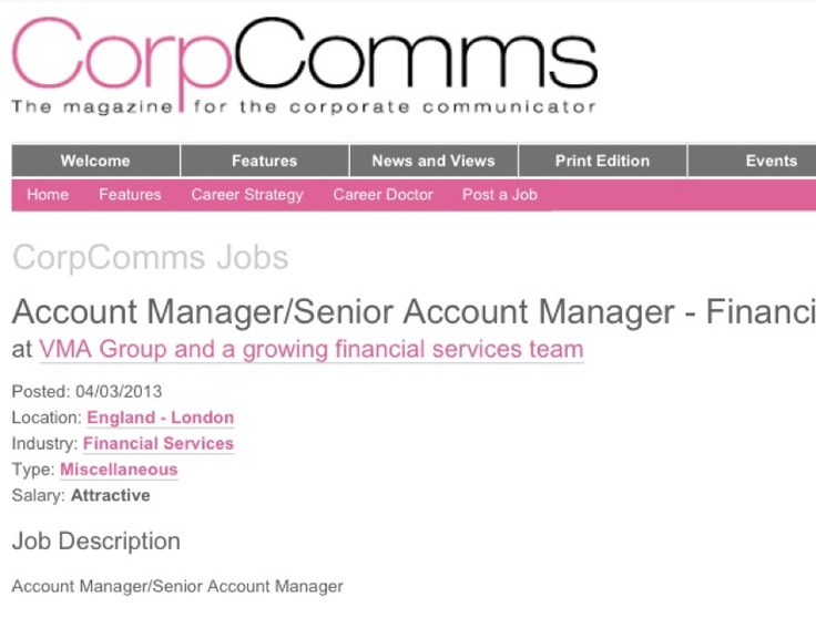 Account Manager job description includes need for social media - senior accountant job description