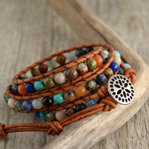 Multicolor boho bracelet. Beaded hippie style leather wrap bracelet
