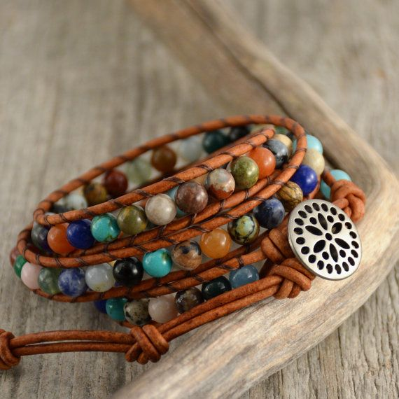 Multicolor boho bracelet. Beaded hippie style leather wrap bracelet