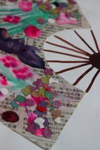 Japanese Fan- Collage/Paint    http://leonpasurlesmurs.canalblog.com/archives/p42-2.html