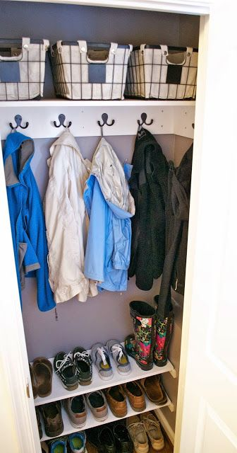 Entryway Coat Closet Makeover -- I think hooks would be more functional for us than the closet bar                                                                                                                                                     More