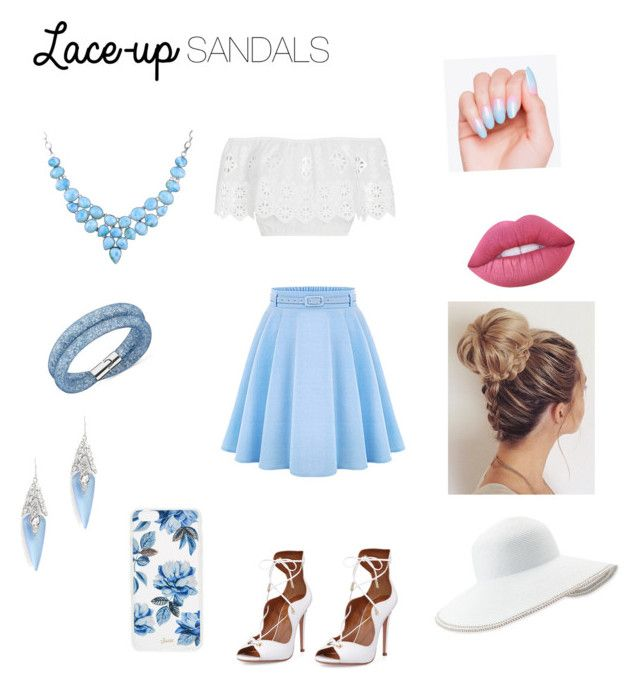 """Flirty blue"" by badass-girly on Polyvore featuring Miguelina, WithChic, Aquazzura, Swarovski, Alexis Bittar, Sonix, Lime Crime, Eric Javits, contestentry and laceupsandals"