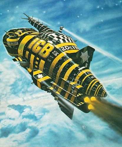 Chris Foss, cover art for _Clear Air Turbulence_ (1977) by the Ian Gillan Band (IGB) en.wikipedia.org/wiki/Clear_Air_Turbulence_(album)