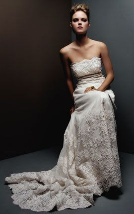 lace sheath (pricilla of boston). This is one of my very favorite wedding dresses. Unfortunately this fashion house closed