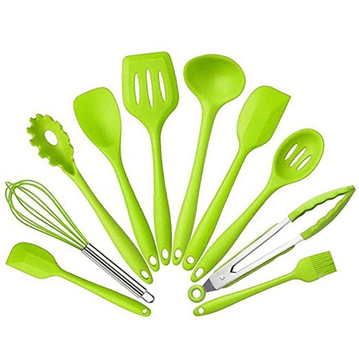 10 Pieces Kitchen Utensils, Food Grade Silicone Cooking Utensil Sets, Premium Heat Resistant Non-Stick Kitchen Baking Set (Green)