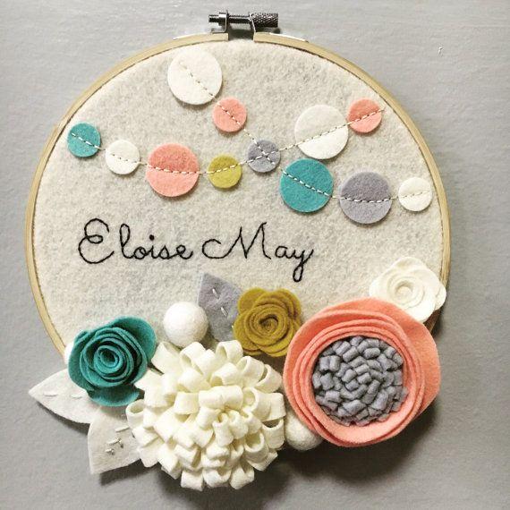 Custom Embroidery Hoop Art Wall Art Nursery Room by nolaandvi