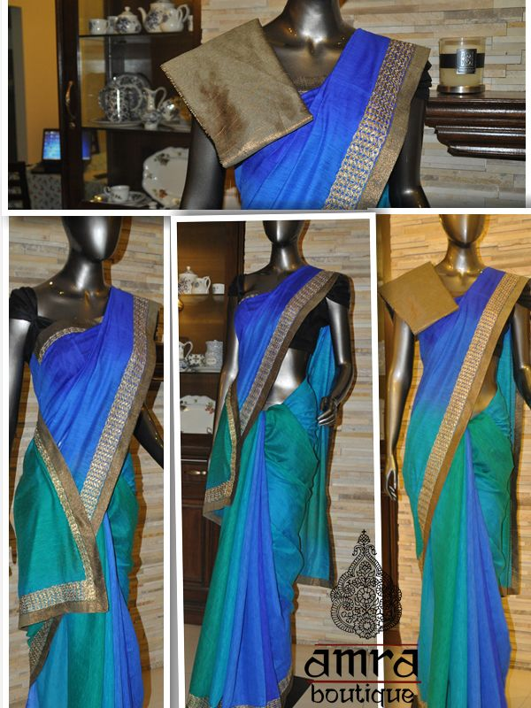 Blue and Green Noil Silk-Cotton